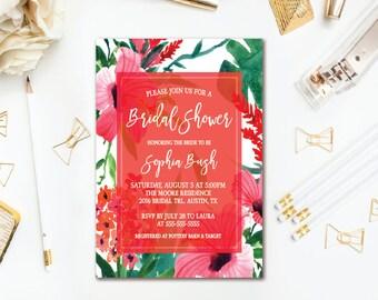Tropical Floral Bridal Shower Invitation, Beach Hawaiian Luau Wedding Shower, Printable Invites