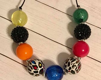 Spots of Color Chunky Bubblegum Necklace