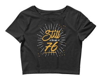 Women's, Crop Top, T Shirt, Classic, Retro, In the Mix, Black, 76, Throwback, Short Sleeve, T-Shirt, Vintage, Graphic, Shirt, XS, S, M, L