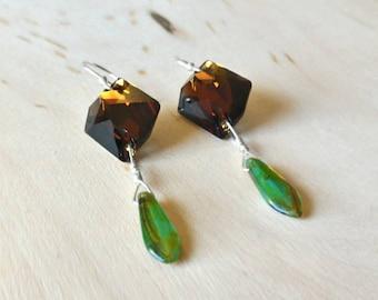 Green and Brown Glass Earrings, Swarovski Earrings, Czech Glass Earrings, Green Earrings, Holiday Gift, Vintage Earrings, Gift for Her