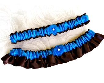 Chocolate Brown and Turquoise Wedding Bridal Garter Set, Something Blue, Satin Prom Garters