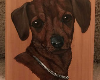 Hand Painted Portrait Dachshund(Weiner Dog)