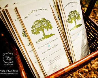Rustic Tree Wedding Program with Twine - Sample