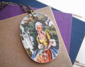 Broken China Jewelry - Vintage Plate Necklace - Retro Edwardian Cameo Pendant - Fair Maiden / Regal Queen / Marie Antoinette Jewelry Gift