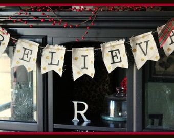 Gold Sparkle Holiday Christmas Canvas Sign / Banner