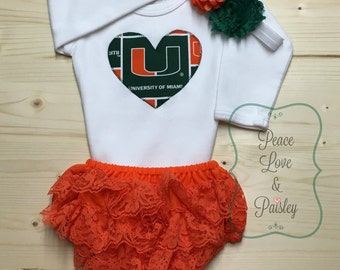 Miami Hurricanes Baby Bodysuit, Lace Ruffle Diaper Cover and Headband Set, Baby Girl Hurricanes, Baby Hurricane, Miami Baby, Baby Shower