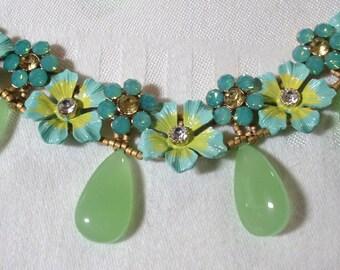 Jewelry Set: Retro Enamel Flower Sliders; Swarovski Crystal Flower Sliders; Peridot Chalcedony Teardrops; Antique Brass Chain; GF Clasp