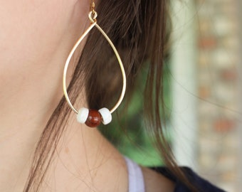 Wood teardrop hoop earrings