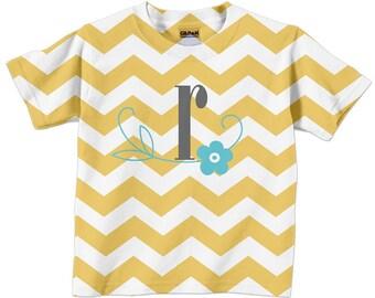 Girl's Chevron Shirt, Personalized Yellow Chevron Tshirt, Girls Clothing, girls top