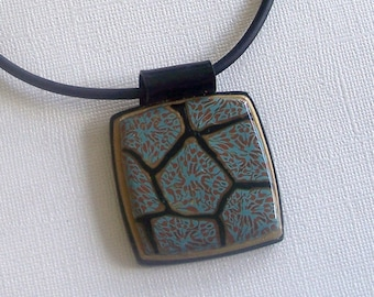 Teal, Black, and Gold Polymer ClaySquare Pendant with Black and Gold Border by Carol Wilson of PollyClayDesigns