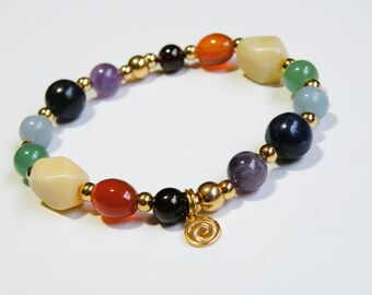 Gold Chakra Bracelet with Natural Gemstones stretch bracelet *FREE SHIPPING USA* 315.3