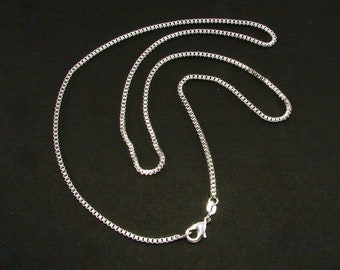 Sterling SIlver Box Chain, 16 inch, 18 inch, 20 inch, 22 inch and 24 inch