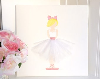 Ballerina decor White and Pink on Canvas, Ballerina Nursery Art, Ballerina Girls Room Art, Baby Shower, Ballerina Art, Pink Nursery decor
