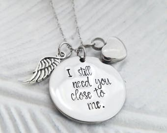 Cremation Urn necklace, urn jewelry, heart cremation necklace, sympathy gift, memorial necklace, I still need you close to me, ashes jewelry