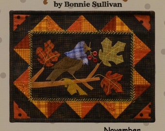 Berties Year November Wool Applique Pattern All Through the Night Penny Rug Tablemat  ATN 1331