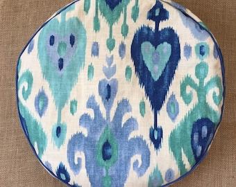 Meditation Cushion ~ Floor Cushion ~ Zafu ~ Yoga Cushion -Ikat -Blue Hearts ~ Boho