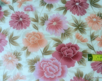 Clearance SALE, One Yard Cut of Quilt Fabric, Pink, Burgundy and Peach Flowers on Cream, Sewing-Quilting-Craft Supplies