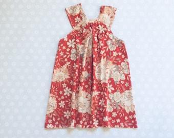 Size 4 - Ready to Ship - Toddler Dress - Girls Dresses - Coral Floral Dress - Baby Girl Easter Dress - Girls Dresses - Sleeveless Dress - Ea