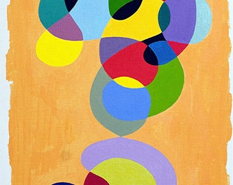 """EMPTY Studio painting (50% deducted) - Acrylic abstract painting on canvas - """"Ripple 6""""."""