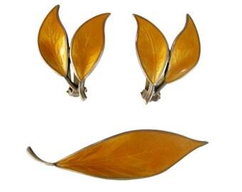 Vintage David Andersen Sterling Silver Marigold Enamel Leaf Earring & Brooch Set