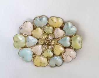 Antique Pastel Enamel Flower Brooch