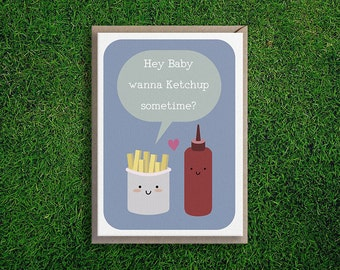 Greeting Cards | Ketchup Sometime card, Love, Romantic, Flirty, Cute & Silly Quirky French Fries Fast Food Card, Blue.