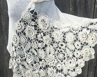 White knitted and crocheted poncho/ wedding shawl/wrap/white cotton poncho