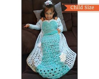 Princess Dress Blanket,Crochet Pattern, Mother Daughter Matching Dress, God Daughter Gift, Birthday Gift, Afghan Dress, Elsa Dress,Throw PDF
