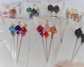 Quilting Pins - Beaded Quilting Pins - Glass Beaded Stick Pins - Hat Pins - Corsage Pins - Stick Pins - Beaded Pins - Pins