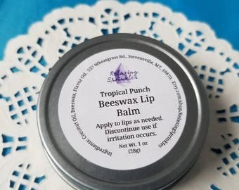 Beeswax Lip Balm- Tropical Punch- 1 oz tin