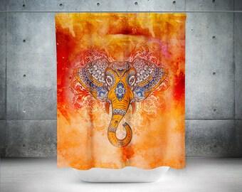 Boho Shower Curtain,Shabby Chic,Elephant Shower Curtain,Mandala Shower Curtain,Mandala Curtain,Bohemian Curtain,Hippie Curtain