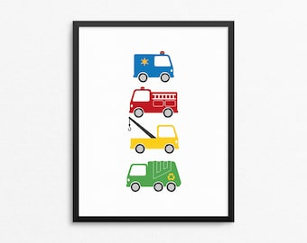 Childrens Decor, Trucks, Kids Posters, Kids Room Art Print, Fire Truck, Tow Truck, Police Car, Garbage Truck, Colorful Poster, Nursery Print