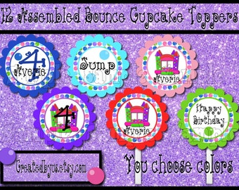 Bounce house Cupcake Toppers Girl jump Birthday Party Decorations cupcake picks Custom bounce house cake toppers cupcake tops 12 assembled