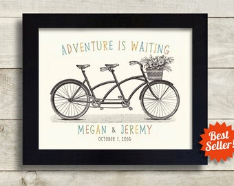 Unique Wedding Gift for Couples, Personalized Wedding Gift, Adventure Awaits, Happily Ever After, Engagement Gifts Anniversary Gift Romantic