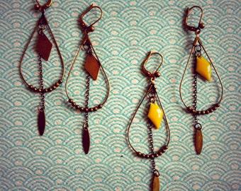 """Earrings """"Tears of Navy"""" chained pattern"""