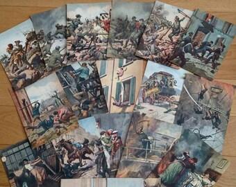 18 BEAUTIFUL unused vintage Italian postcards. Milan 1959 feat. Scenes ranging from 1902-1941 by Achille Beltrame