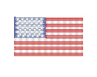 Sketch American Flag Embroidery Design