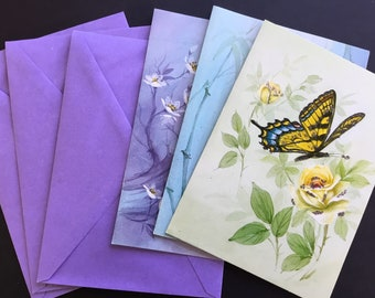 Vintage Greeting Card Assortment, Butterfly themed, glitter, Sunshine ( 3 )