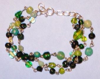 LAST ONE! Green Glass Beaded Classic Multi Strand Bracelet