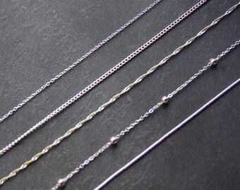 925 Sterling Silver Chain, Curb Silver Chain, Rolo Silver Chain, Torsade Silver Chain, Pearls chain, snake chain, Silver Chain Necklace
