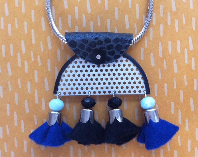 Felt tassel necklace - bib Necklace - tribal necklace- half moon necklace - statement necklace