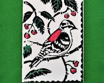 Woodpecker -5 Christmas card, Holiday greeting card, lino block print note cards