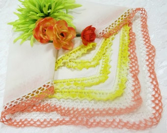 2 Vintage Handkerchiefs White with Peach and Yellow Crocheted Edges, Cotton and Linen,  Ladies Hankies, Vintage Linens