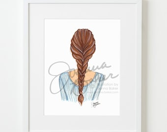 Braided Brunette Fashion Illustration Art Print / Fashion Illustration Sketch, Fashion Sketch Art, Fashion Art Print, Fashion Wall Art
