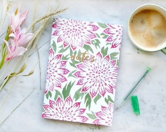 A5 Notebook / Sketch Book: Lino Print Astrantia Floral Pattern with 40 pages 120gsm