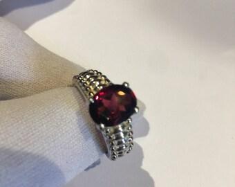 Vintage Bohemian Garnet 925 Sterling Silver Rhodium Finish Ring