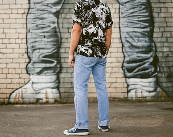 Vintage 90s Mens Light Blue Denim Jeans . High Waisted Jeans Dad Jeans Dadcore . size W34 L32