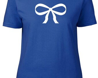 Bow. Ribbon. Ladies semi-fitted t-shirt.