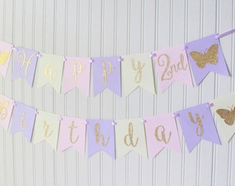 Gold, Pink, Purple, Ivory Butterfly Happy Birthday Banner/ Girl Birthday/ Princess Party/ Fairy Birthday/ Custom Name/ Personalized