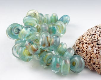 Lampwork Glass Beads, Handmade lampwork 8 bead set, jewelry supplies, lampwork bead, lampwork spacer bead, artist lampwork, Amalfi Coast